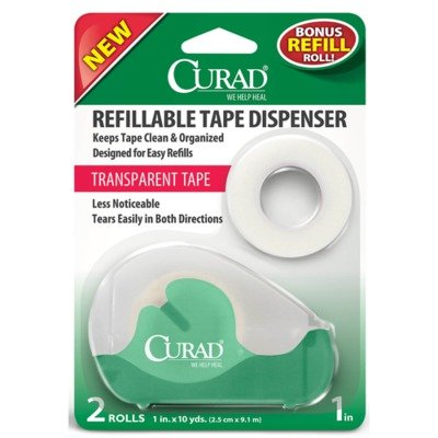 Curad Clear Tape with Refillable Dispenser, Bonus Roll, 2 Count