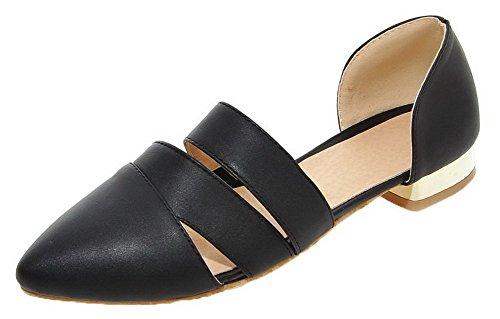 Black PU Solid Closed Toe Pull CA18LA03547 Heels WeenFashion Women's Low On Sandals 1BAxAqZ