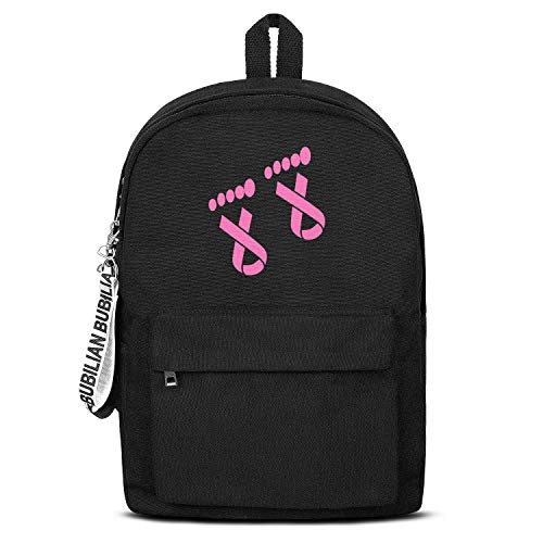Pink Ribbon Design Breast Cancer Women Men Water Resistant Black Canvas School Backpack Laptop Backpack