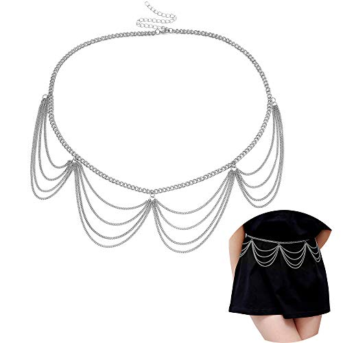 Jurxy Multilayer Alloy Waist Chain Body Chain for Women Golden Waist Belt Pendant Belly Chain Adjustable Body Harness for Jeans Dresses - Silver Style 3