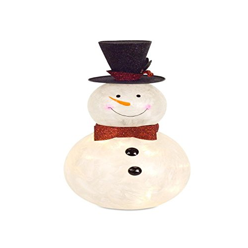 Diva At Home Pack of 2 Cream White Snowman Glass Light/Timer Christmas Decorative Accents 16