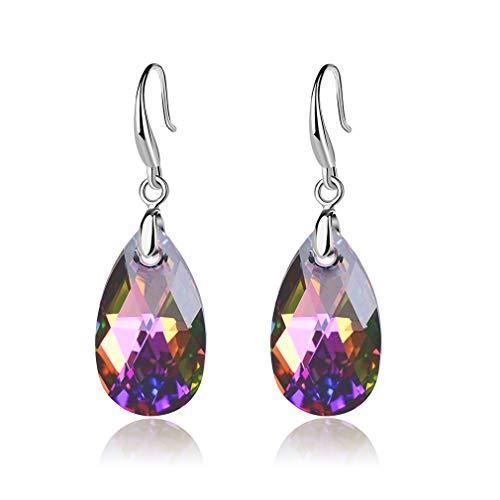 EVEVIC Swarovski Crystal Teardrop Dangle Hook Earrings for Women Girls 14K Gold Plated Hypoallergenic Jewelry (Rainbow Crystal)