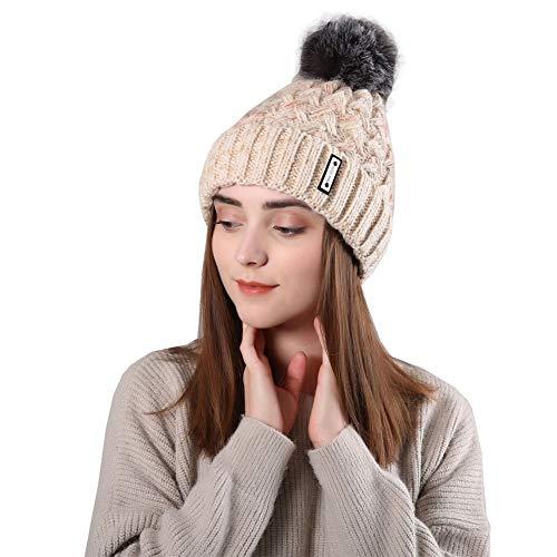 Beanie Fleece Chunky - KoolHour Womens Warm Faux Fur Fuzzy Pom Pom Cable Knit Thick Soft Fleece Lined Chunky Beanie Skully Hat Cap,Beige