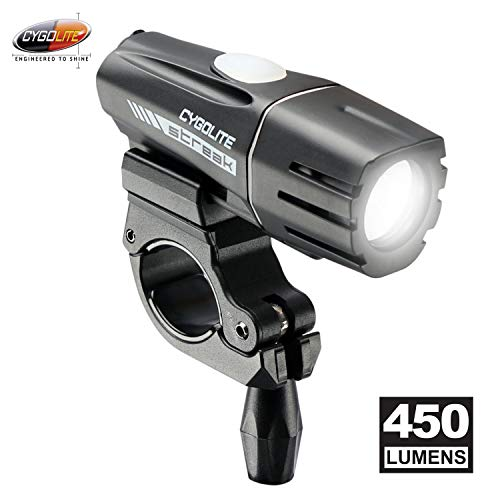 Cygolite Streak 450 Lumen Bike Light 5 Night Modes Daytime Flash Mode Compact Durable IP67 Waterproof Secured Hard Mount USB Rechargeable Headlight for Road Commuter Bicycles