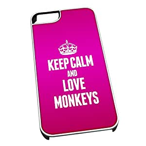 Cubierta blanca para iPhone 4/4S 2458 rosa serénese y adora a los monos