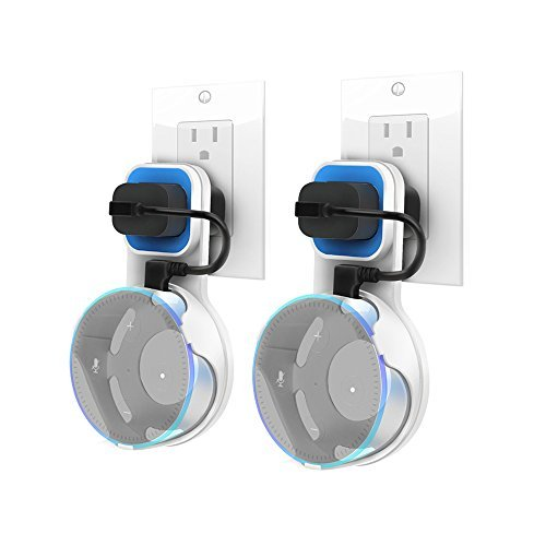 Dylawell Outlet Wall Mount Hanger Stand for Amazon Echo Dot 2nd Generation, A Smart Home Speakers Accessories Without Messy Wires or Screws (White-Blue 2-Pack)