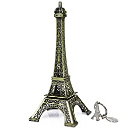 SiCoHome Eiffel Tower 7.0 inch Bronze Paris Party Figurine Small Eiffel Tower for Room, Cake Topper,Gifts,Party And House Decoration