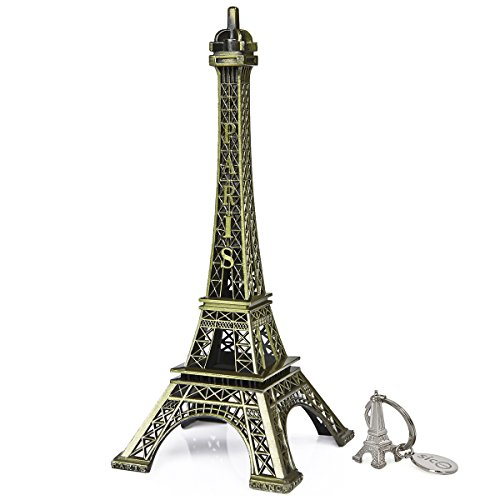 SICOHOME Eiffel Tower,7.0inch,Bronze Paris Small Eiffel Tower Room Decor,Cake Topper,Gifts,Party Home Decoration (Ring Eiffel Tower)