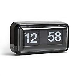 Rejea Auto Flip Clock, Wall Hang/Desktop Clock, Anti-Dust Cover, 10.5 x 6 x 3.2 inches, Decorative with Premium ABS Cards Flipping Down Clock for Office, Home, Bar, Desk & Shelf (Nice Black Cabinet)
