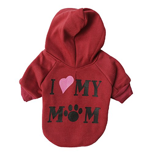 P&Q Estore Pet Clothes Adorable Dog Hoodie Small Dogs Clothes Dog Costume + 1XBowknot (I love my mom(Red), X-Small)