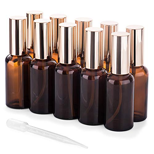 Small Glass Spray Bottles 50ml, Empty Glass Bottle Labels for Essential Oils, Amber Glass Spray Bottles 10 Pack