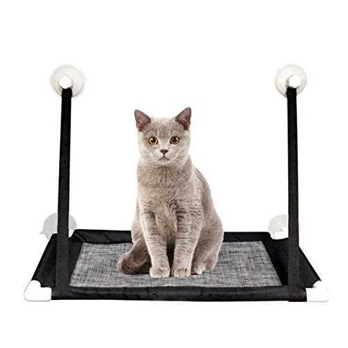 MAIKEHIGH Cat Hammock Window Mount Perches Resting Pet Bed Kitty Window Seat with 4 Suction Cups Holds Up to 20lbs, Black