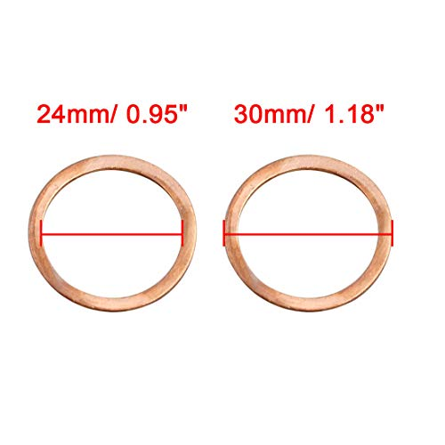 X AUTOHAUX 20pcs 24mm Inner Diameter Copper Washers Flat Sealing Gaskets Rings by X AUTOHAUX (Image #2)