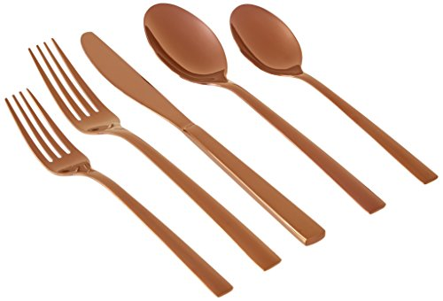 Cambridge Silversmiths 20 Piece Cortney Stainless Steel Flatware Silverware Set (Service for 4), Copper Mirror