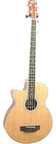 Left Hand Oscar Schmidt Acoustic Electric Bass Guitar, Lefty, Venetian Cutaway, Gig Bag ()