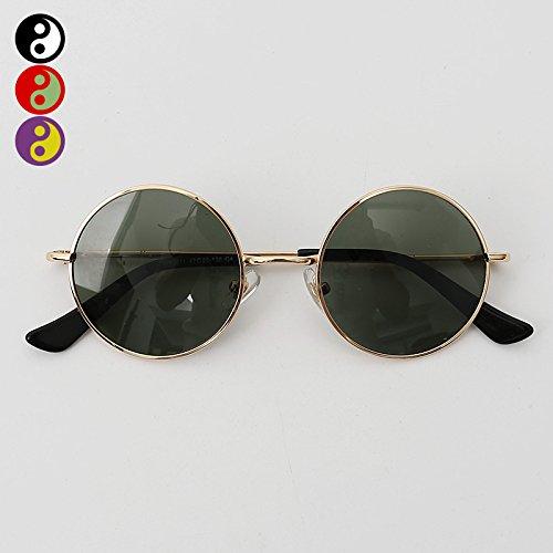 Black polarizadas sol mirror Gafas frame VVIIYJ green Prince Mirror de B Male Myopia Mirror redondas Female Gold Box sol de Glasses Face Black Gafas TFRqBtFwP