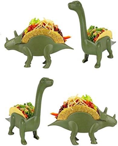 2 Green Dinosaur Taco Holder Set of 4 Family Pack Brontosaurus 2 Triceratops,