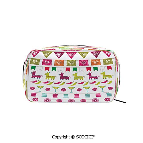 (Rectangle Portable makeup organizer Cosmetic Bags Latin American Motifs Flags Chili Peppers Cocktails Mexican Flag Color Party Pattern Decorative Printed Storage Bags for Women Girls)