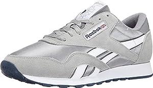 Reebok Men's Classic Sneaker, Platinum/Jet Blue, 10M