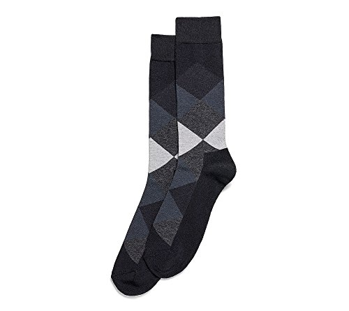 Hue Men Dress - HUE Men's Color Blocked Dress Socks Black