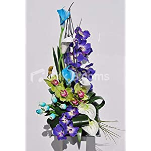 Silk Blooms Ltd Artificial Bright Purple and Blue Calla Lily Arrangement w/Tulips, Orchids and Anthuriums 55