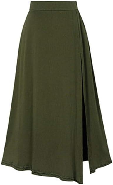 Lenfesh Moda para Mujer Elasticidad Cintura Alta Split Color ...