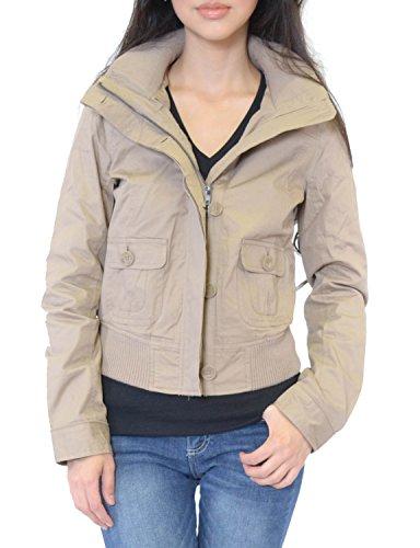 Azkara Women's Military Anorak Drawstring Parka Jacket with Hoodie (Petite Medium, JW093224-A-KHAKI)