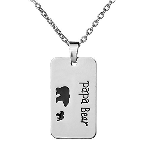 (Papa Bear 1 Cub Baby Rectangle Necklace Jewelry For Men Father Christmas Gift 18