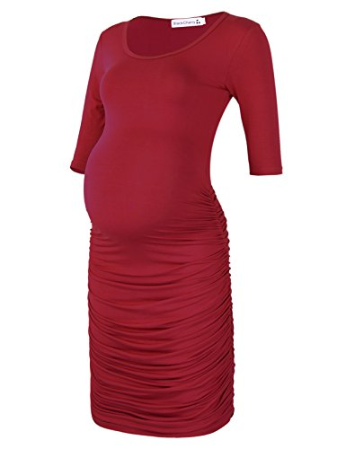 - Black Cherry Women's Three Quarter Sleeve Ruched Maternity Fitted Dress