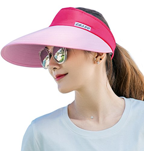 Hat Wool Large Brim Red (Sun Visor Hats for Women, Large Brim UV Protection Summer Beach Cap, 5.5''Wide Brim (Pink & Red))