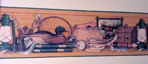 Lodge Adirondack Ducks Fishing Cabin Wallpaper Border - Fishing Border