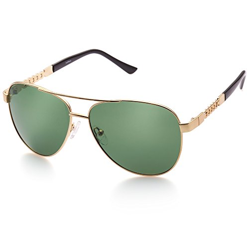 Aviator Sunglasses for Women, Polarized Green Lens, Gold Metal Frame, UV Protection ()