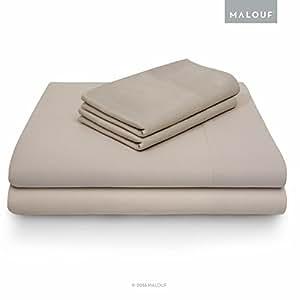 MALOUF 100% Rayon from Bamboo Sheet Set - 4-pc Set - Queen - Driftwood