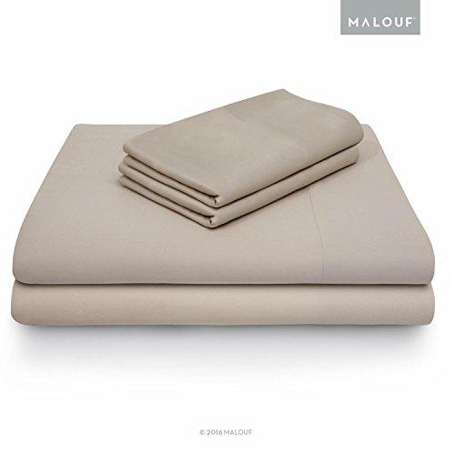 MALOUF Split Head 100% Rayon from Bamboo Sheet Set - 4-pc Set - Queen - Driftwood -