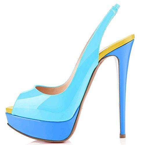 uBeauty Damen Stilettos Slingback Fußgelenkriemchen Sandalen mit Plateau Peep Toe Multicolor Schuhe Blau A