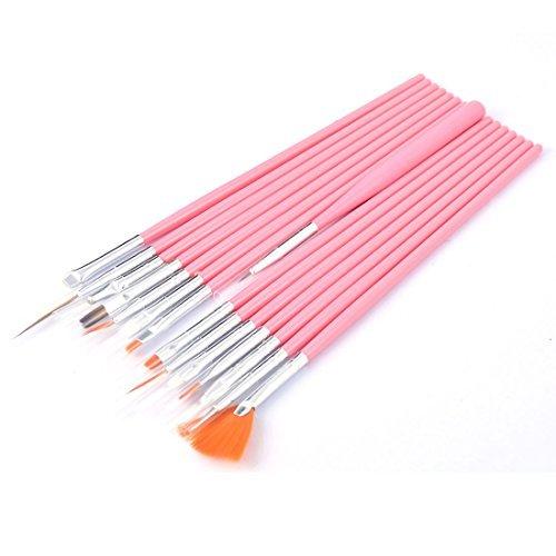 DealMux cabo de plstico Desenho Dotting pincel Nail Art Kit Set 15 em 1 rosa