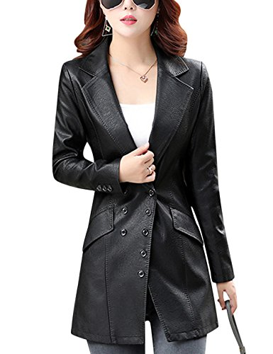 Tanming Women's Button Front Faux Leather Blazer Coat Jacket (Large, Black) -
