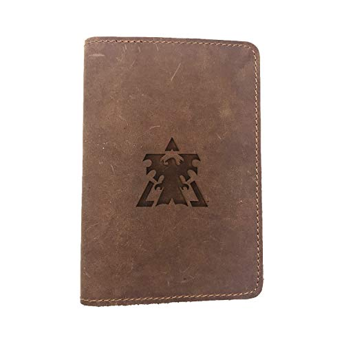 Terran Dominion Symbol (Milk Chocolate) Engraved (Set Of 2) - Deluxe Full Grain Leather Passport Cover Wallet Case - Handmade With Traditional Craftsmanship - Can Store Two Us Passports