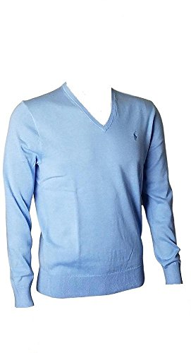 (Polo Ralph Lauren Mens Pima Cotton V-Neck Sweater EssexBlue, M)