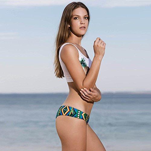 Rcool Para Mujeres Traje de Baño de Bikini Conjunto de Push Up Acolchado de Sostén Ropa de Baño Beachwear Swimsuit Swimwear Dos Piezas - Piña Blanco