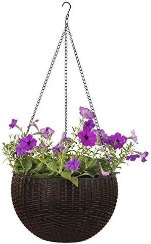 KEBY macetas Colgantes para regar Plantas de Interior y Exterior, cestas Colgantes para jardín para Plantas con escurridor y Cadena, café: Amazon.es: Jardín