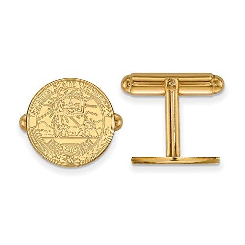 Wichita State Crest Cuff Links (14k Yellow Gold) by LogoArt