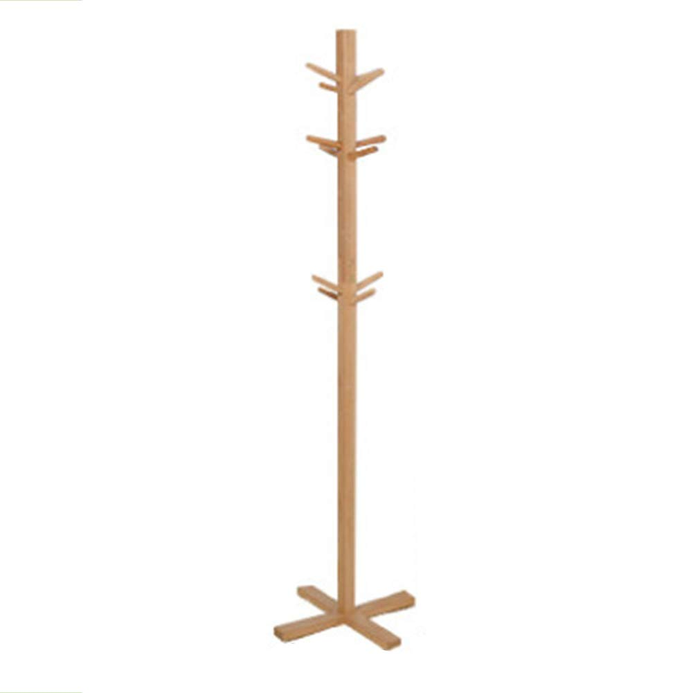 JIANFEI Floor Standing Coat Rack Hat Stand Hanger Multifunction Storage Bearing Strong Nanzhu 2 Styles (Color : Solid Wood Color, Size : 35x175cm)