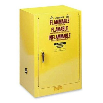 Compac Cabinet - JUS891200 - Justrite Sure-grip Ex Compac Safety Cabinet, 23 1/4w X 18d X 35h, Yellow