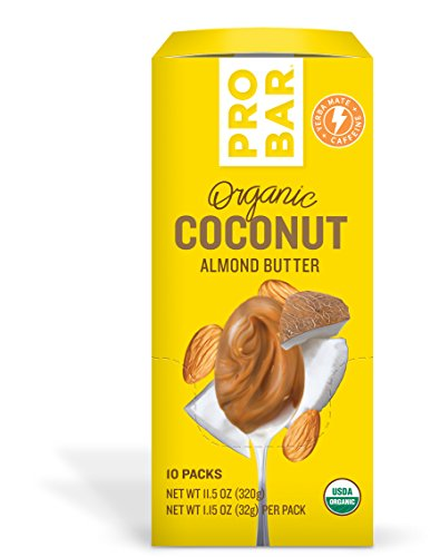 Almond Coconut Butter - PROBAR - Nut Butters - Coconut Almond Butter + Yerba Mate Caffeine, 10 Count - USDA Organic, Gluten Free, Organic Plant-Based Butter