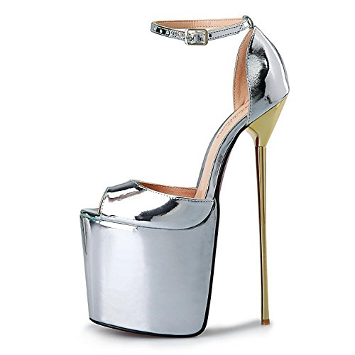 Silver Sintético sandaliasboda Aire verano yc al De Plataforma Tacón fiesta Mujer Primavera Sintético L Zapatos Alto Cuero cuero Libre tacones zBqPPH6a