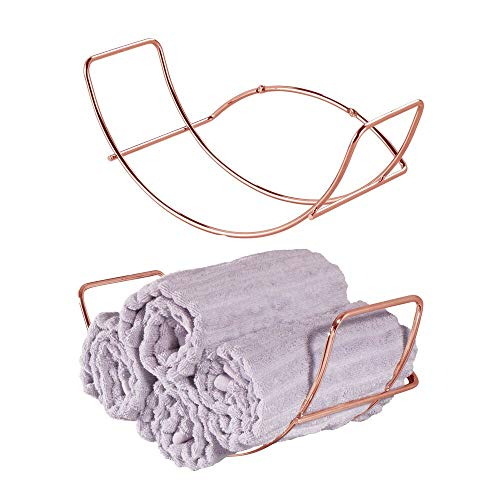 - mDesign Modern Decorative Metal Bathroom Wall Mount Towel Rack Organizer for Storage of Bath Sheets, Washcloths, Hand or Face Towels - 2 Pack - Rose Gold