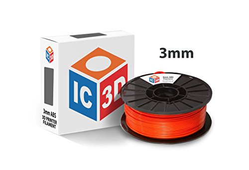 IC3D Orange 3mm ABS 3D Printer Filament - 2.1lb Spool - Dimensional Accuracy +/- 0.05mm - Professional Grade 3D Printing Filament - MADE IN USA (Airwolf 3d Printer)