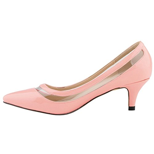 EKS Damen Lqoqop Solide Farbe Spitz Schuhe Comfrotable Low Heels Dress Pumps Pink-Lackleder