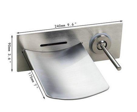 GOWE Soild Brass LED Light Waterfall Brushed Nickel Wall Mounted Bathtub Faucet Torneira Shower Bathroom Sink Faucet,Mixer Taps 1